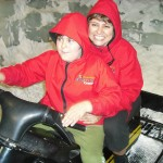 Anita and Louis snow bike